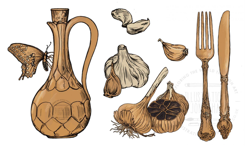 Black Garlic Vintage Illustration Elements by Jonathan Chapman